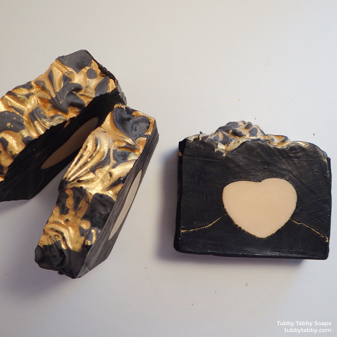 Heart of Gold artisanal handmade soap (small batch cold process soap) by Tubby Tabby Soaps in Ottawa