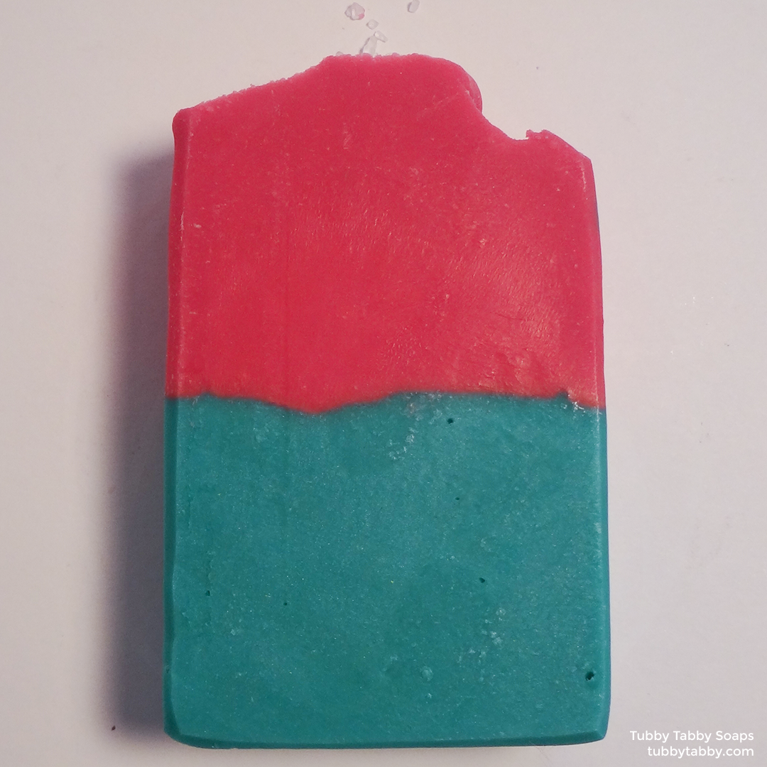 Pink and teal handmade soap (small batch cold process soap) by Tubby Tabby Soaps in Ottawa