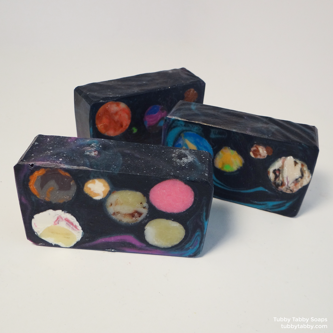 Intergalactic planet galaxy soap by Tubby Tabby Soaps in Ottawa