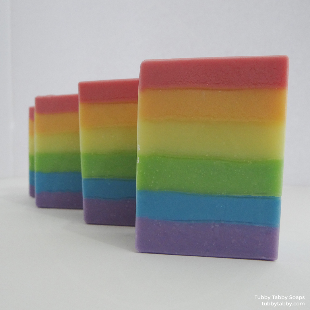 Single Rainbow unscented handmade soap by Tubby Tabby Soaps (locally made)