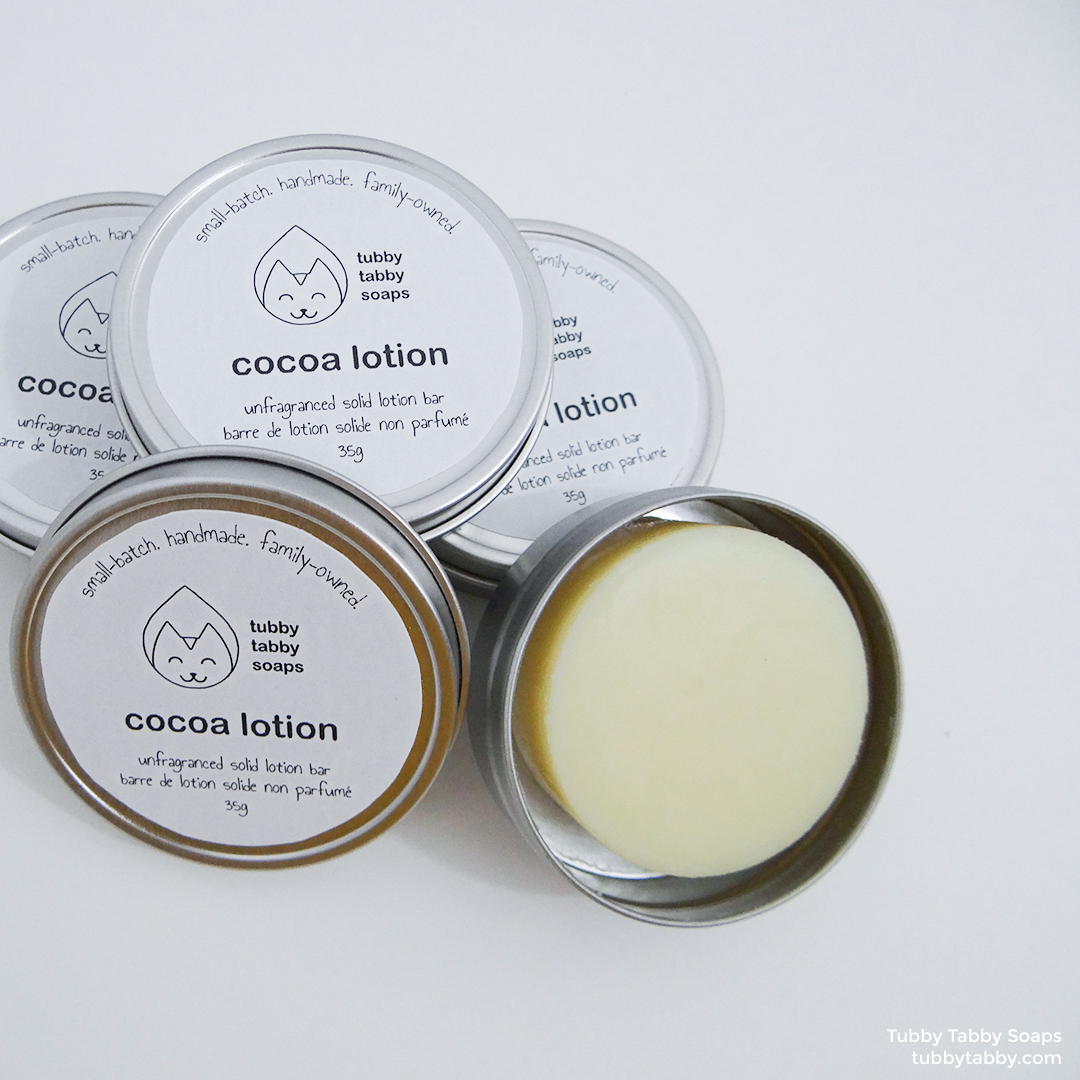 Cocoa Lotion solid lotion bars (zero waste, plastic free, handmade, all natural) by Tubby Tabby Soaps