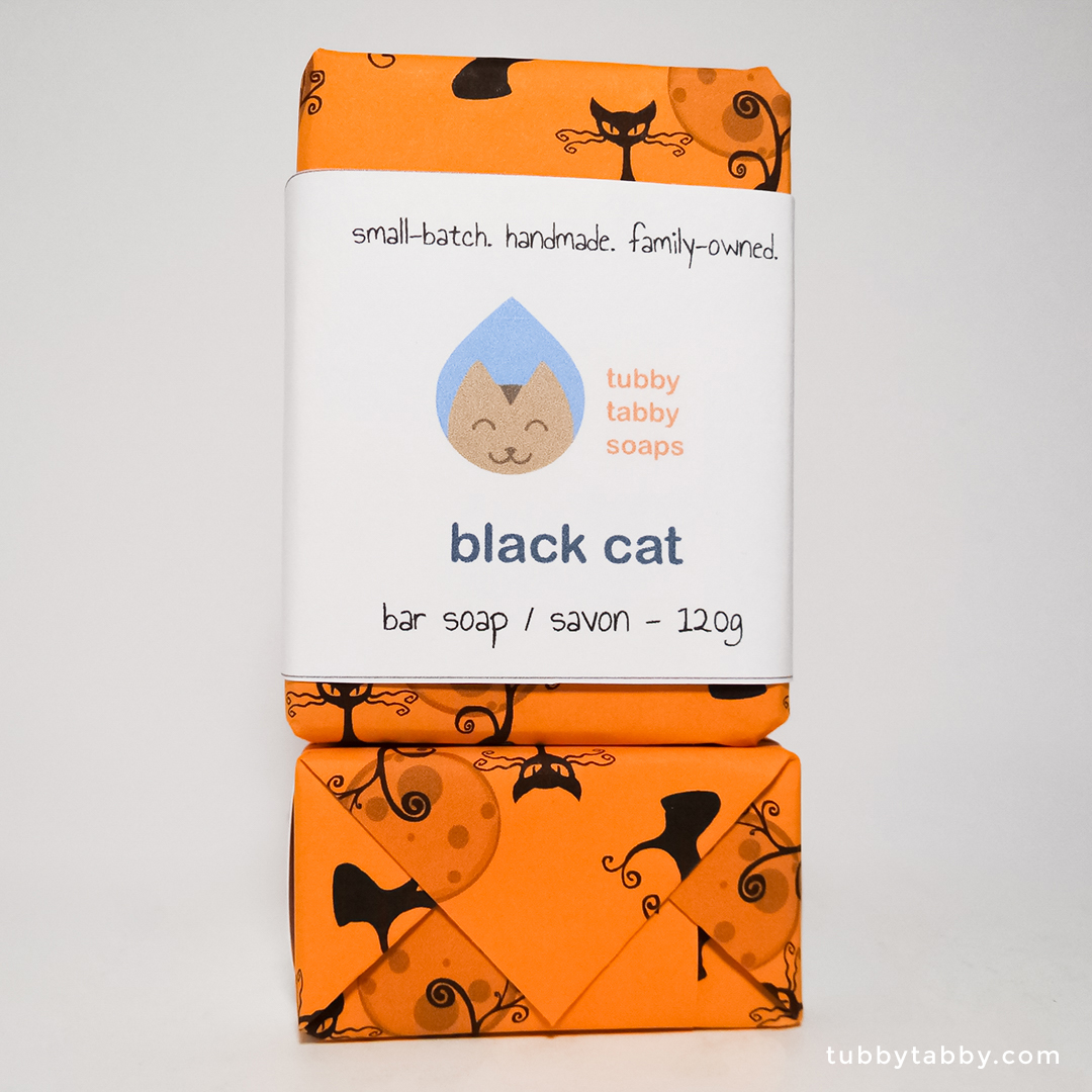 Black Cat handmade soap (package) by Tubby Tabby Soaps