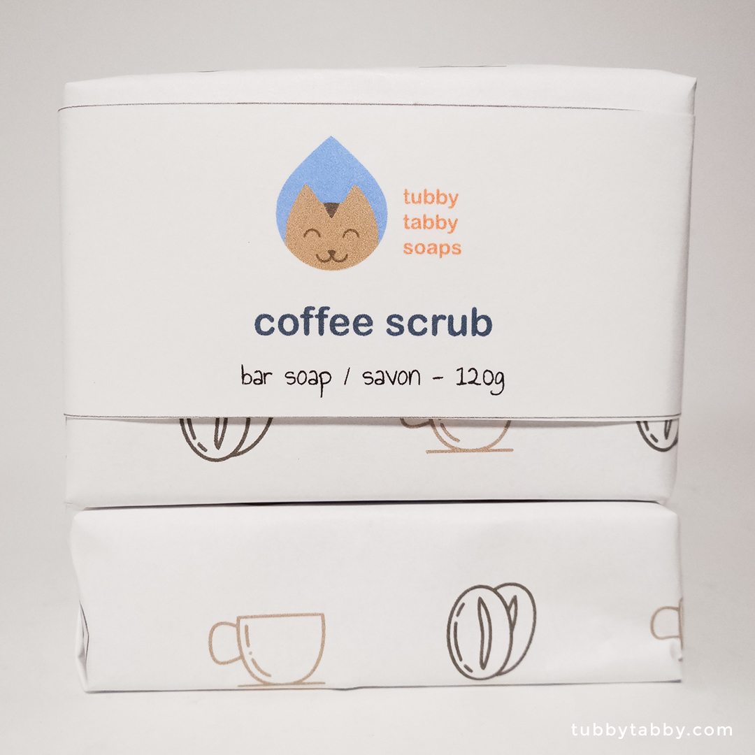 Coffee Scrub handmade soap (package) by Tubby Tabby Soaps