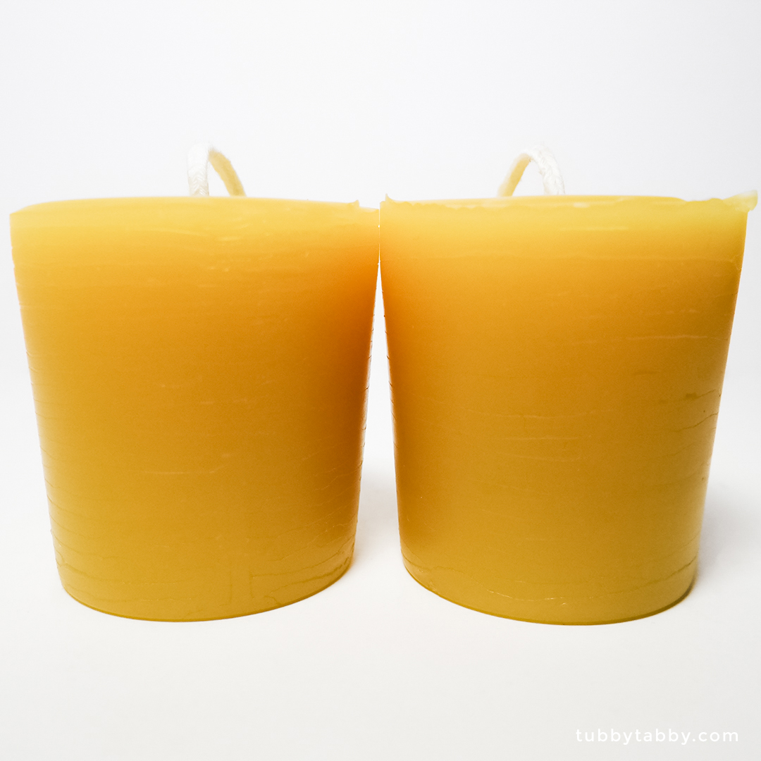 Handmade beeswax votive candles by Tubby Tabby Soaps
