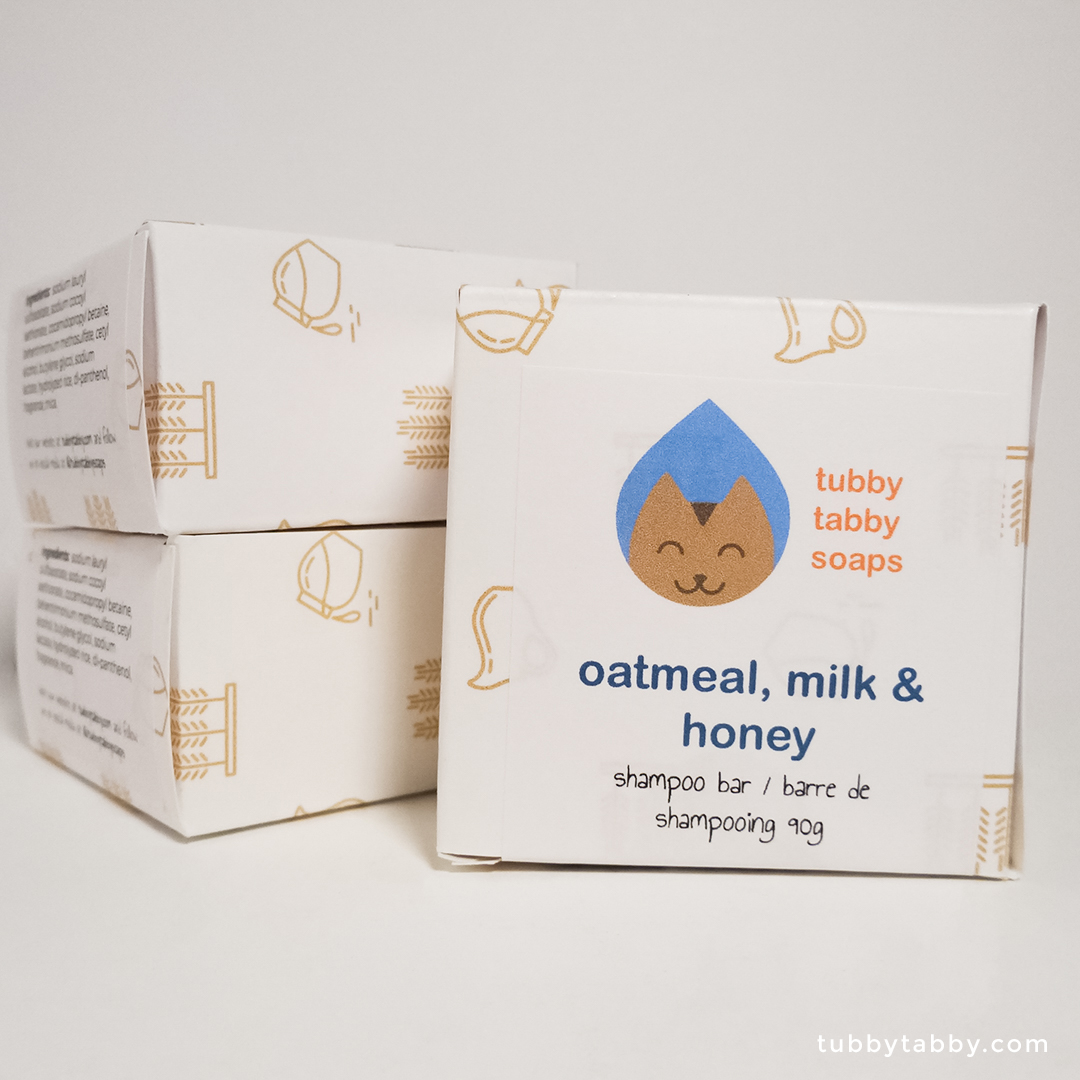 Oatmeal Milk and Honey shampoo bar (package) by Tubby Tabby Soaps